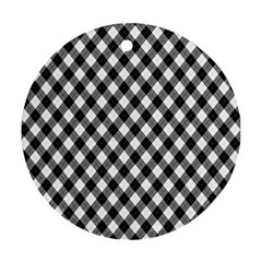 Argyll Diamond Weave Plaid Tartan In Black And White Pattern Round Ornament (Two Sides)