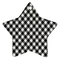 Argyll Diamond Weave Plaid Tartan In Black And White Pattern Star Ornament (Two Sides)