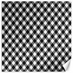 Argyll Diamond Weave Plaid Tartan In Black And White Pattern Canvas 12  x 12