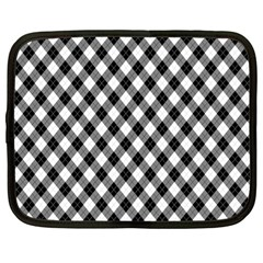 Argyll Diamond Weave Plaid Tartan In Black And White Pattern Netbook Case (Large)