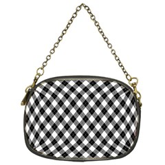 Argyll Diamond Weave Plaid Tartan In Black And White Pattern Chain Purses (One Side)