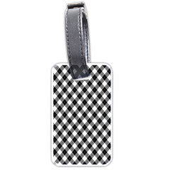 Argyll Diamond Weave Plaid Tartan In Black And White Pattern Luggage Tags (One Side)