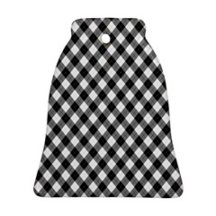 Argyll Diamond Weave Plaid Tartan In Black And White Pattern Bell Ornament (Two Sides)
