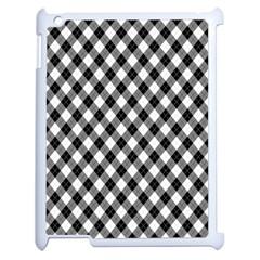 Argyll Diamond Weave Plaid Tartan In Black And White Pattern Apple iPad 2 Case (White)
