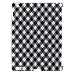 Argyll Diamond Weave Plaid Tartan In Black And White Pattern Apple iPad 3/4 Hardshell Case (Compatible with Smart Cover)