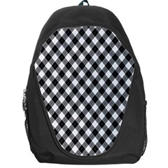 Argyll Diamond Weave Plaid Tartan In Black And White Pattern Backpack Bag