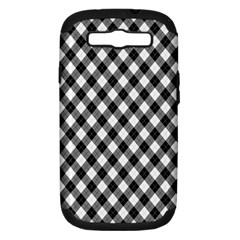 Argyll Diamond Weave Plaid Tartan In Black And White Pattern Samsung Galaxy S III Hardshell Case (PC+Silicone)