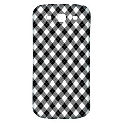 Argyll Diamond Weave Plaid Tartan In Black And White Pattern Samsung Galaxy S3 S III Classic Hardshell Back Case