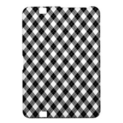Argyll Diamond Weave Plaid Tartan In Black And White Pattern Kindle Fire HD 8.9