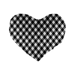 Argyll Diamond Weave Plaid Tartan In Black And White Pattern Standard 16  Premium Heart Shape Cushions