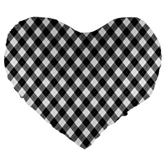 Argyll Diamond Weave Plaid Tartan In Black And White Pattern Large 19  Premium Heart Shape Cushions