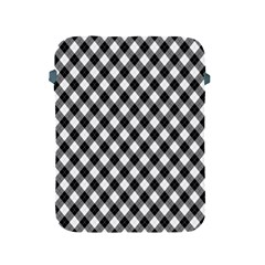 Argyll Diamond Weave Plaid Tartan In Black And White Pattern Apple iPad 2/3/4 Protective Soft Cases