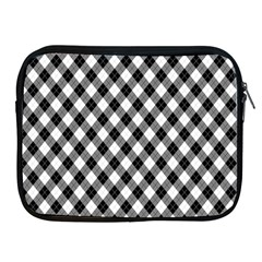 Argyll Diamond Weave Plaid Tartan In Black And White Pattern Apple iPad 2/3/4 Zipper Cases