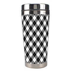 Argyll Diamond Weave Plaid Tartan In Black And White Pattern Stainless Steel Travel Tumblers