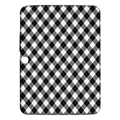 Argyll Diamond Weave Plaid Tartan In Black And White Pattern Samsung Galaxy Tab 3 (10.1 ) P5200 Hardshell Case