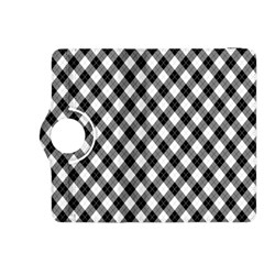 Argyll Diamond Weave Plaid Tartan In Black And White Pattern Kindle Fire HDX 8.9  Flip 360 Case