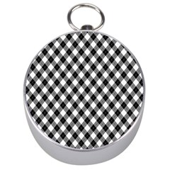 Argyll Diamond Weave Plaid Tartan In Black And White Pattern Silver Compasses