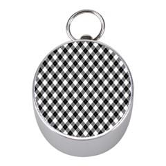 Argyll Diamond Weave Plaid Tartan In Black And White Pattern Mini Silver Compasses