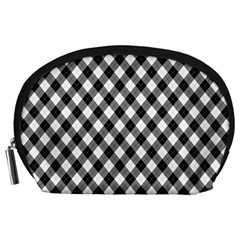 Argyll Diamond Weave Plaid Tartan In Black And White Pattern Accessory Pouches (Large)