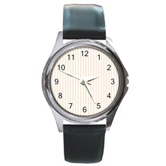 Soft Peach Pinstripe on White Round Metal Watch