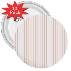 Soft Peach Pinstripe on White 3  Buttons (10 pack)
