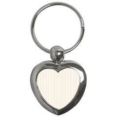 Soft Peach Pinstripe on White Key Chains (Heart)