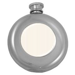 Soft Peach Pinstripe on White Round Hip Flask (5 oz)