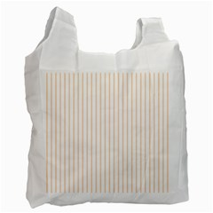 Soft Peach Pinstripe on White Recycle Bag (One Side)