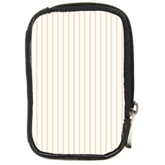 Soft Peach Pinstripe on White Compact Camera Cases