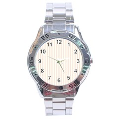 Soft Peach Pinstripe on White Stainless Steel Analogue Watch