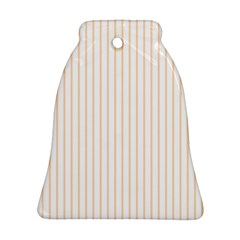 Soft Peach Pinstripe on White Bell Ornament (Two Sides)