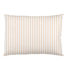 Soft Peach Pinstripe on White Pillow Case (Two Sides)