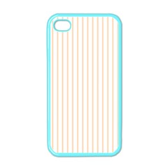 Soft Peach Pinstripe on White Apple iPhone 4 Case (Color)