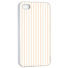 Soft Peach Pinstripe on White Apple iPhone 4/4s Seamless Case (White)
