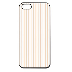 Soft Peach Pinstripe on White Apple iPhone 5 Seamless Case (Black)