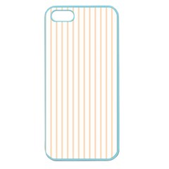 Soft Peach Pinstripe on White Apple Seamless iPhone 5 Case (Color)
