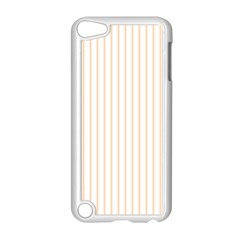 Soft Peach Pinstripe on White Apple iPod Touch 5 Case (White)