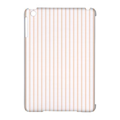 Soft Peach Pinstripe on White Apple iPad Mini Hardshell Case (Compatible with Smart Cover)