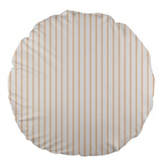 Soft Peach Pinstripe on White Large 18  Premium Round Cushions
