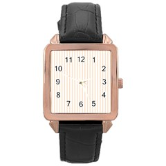 Soft Peach Pinstripe on White Rose Gold Leather Watch