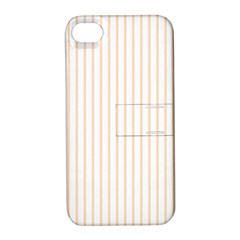 Soft Peach Pinstripe on White Apple iPhone 4/4S Hardshell Case with Stand