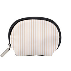 Soft Peach Pinstripe on White Accessory Pouches (Small)