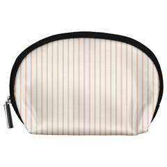 Soft Peach Pinstripe on White Accessory Pouches (Large)