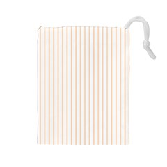 Soft Peach Pinstripe on White Drawstring Pouches (Large)