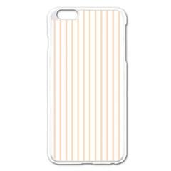 Soft Peach Pinstripe on White Apple iPhone 6 Plus/6S Plus Enamel White Case