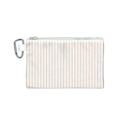 Soft Peach Pinstripe on White Canvas Cosmetic Bag (S)