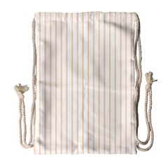 Soft Peach Pinstripe on White Drawstring Bag (Large)
