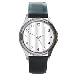 Dove Grey Pin Stripes on White Round Metal Watch