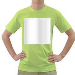 Dove Grey Pin Stripes on White Green T-Shirt