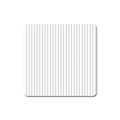 Dove Grey Pin Stripes on White Square Magnet